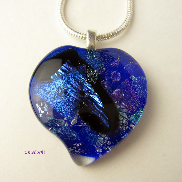 Blue Handmade Dichroic Fused Glass Cabochon Heart Pendant One-of-a-Kind