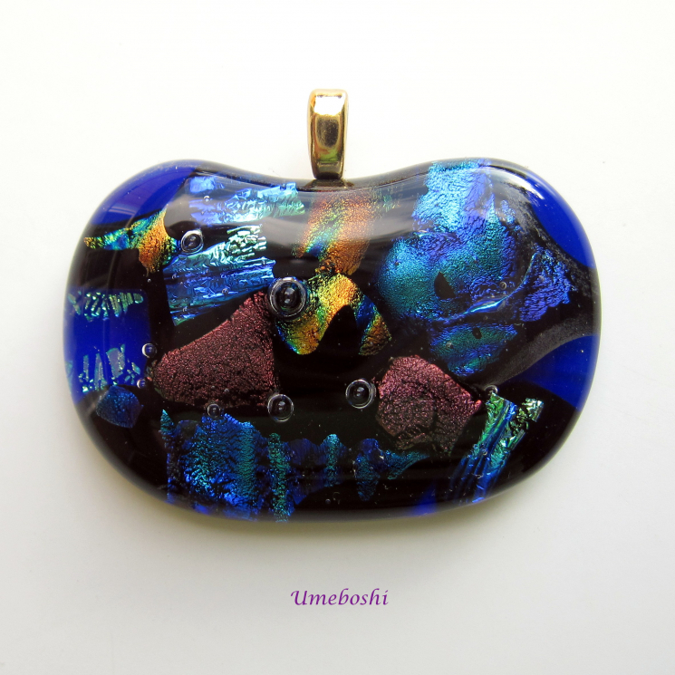 Coral Reef Cabochon Pendant - Handmade Dichroic Glass
