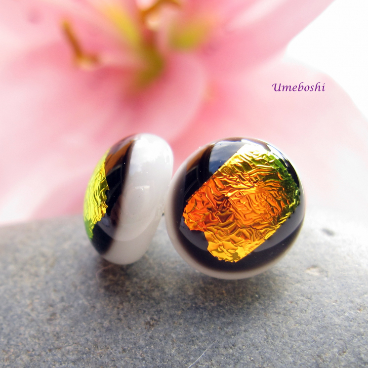 Brilliant Sunset Colors Handmade Dichroic Glass Post Earings on a White Base