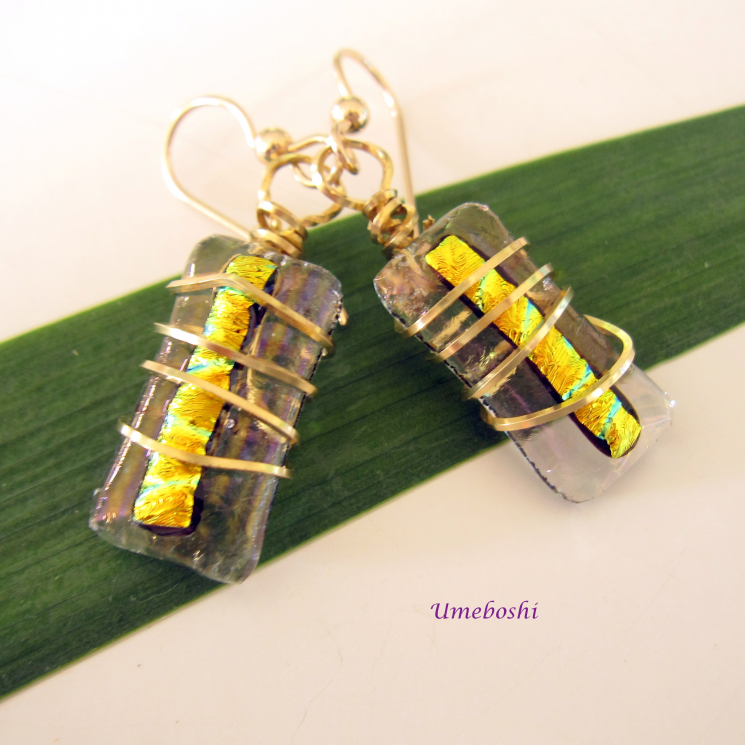 Handmade Dichroic Glass Wire Wrapped Earrings with Gold Filled Ear Wires
