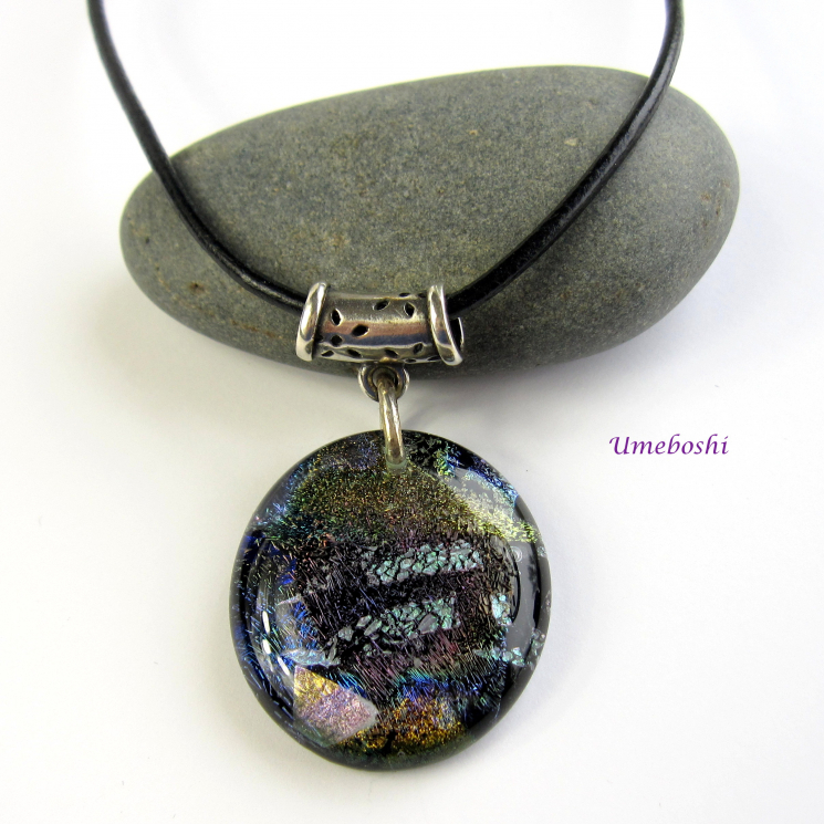Rich Earth Tone Handmade Dichroic Fused Glass Cabochon Pendant Shown with Cord