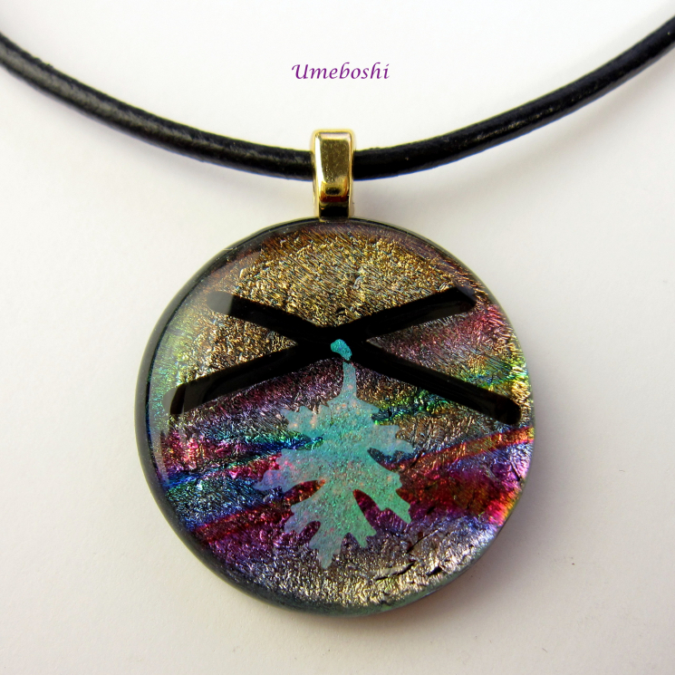 Handmade Rainbow Colored Cabochon Pendant with Dichroic Oak Leaf