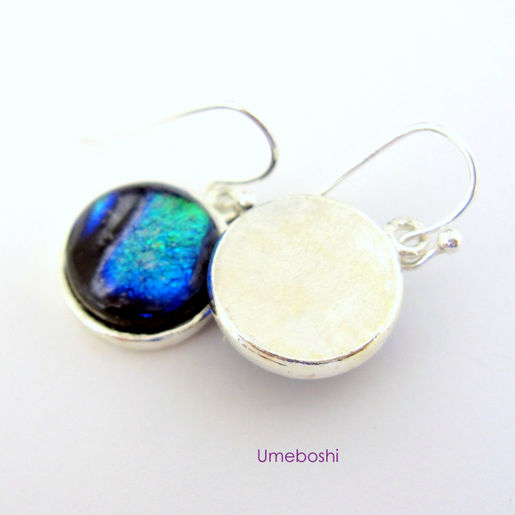 Handmade Fused Glass Dangle Earrings Shades of Blue