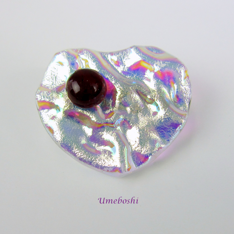 My Sweetheart Handcrafted Dichroic Textured Fused Glass Heart Brooch