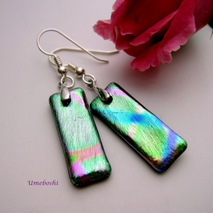 Light Weight Dichroic Glass Pastel Rainbow Earrings