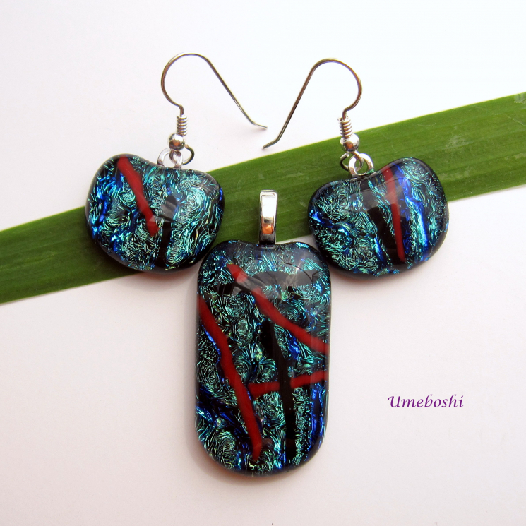 handmade fused dichroic glass cabochon pendant and earrings set