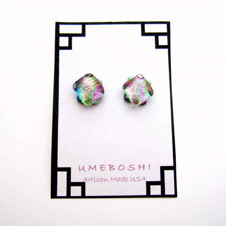 pastel dichroic fused glass post earrings