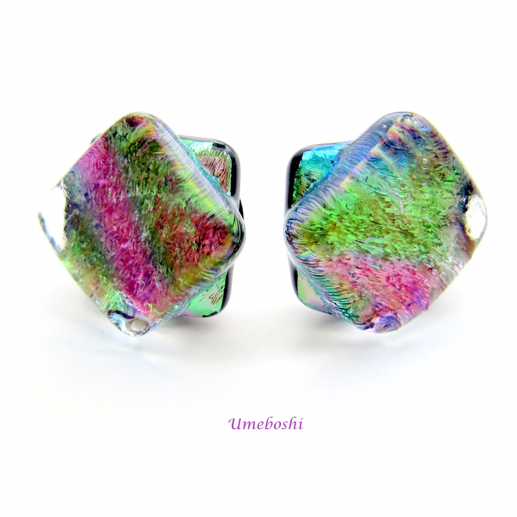 Pastel rainbow twisted squares post earrings