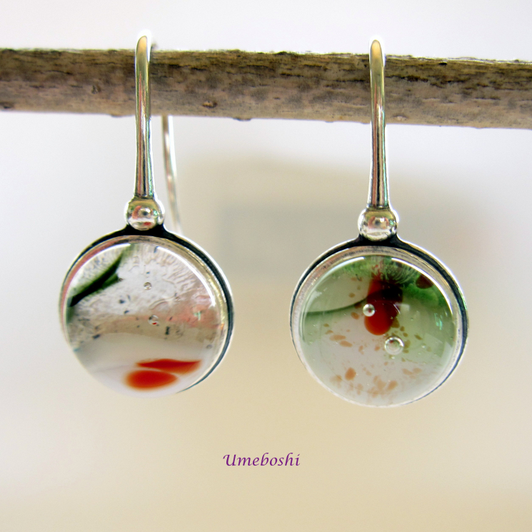 Fused Glass Dangle Earrings 925 Sterling Silver