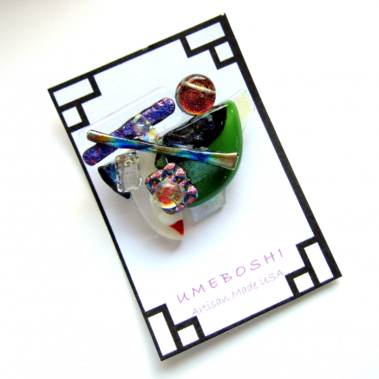 Handmade unique dichroic glass pin brooch one-of-a-kind