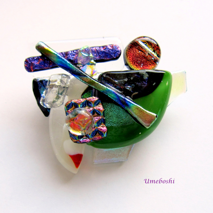 Original dichroic Glass Jewelry Pin by Umeboshi Jewelry Designs