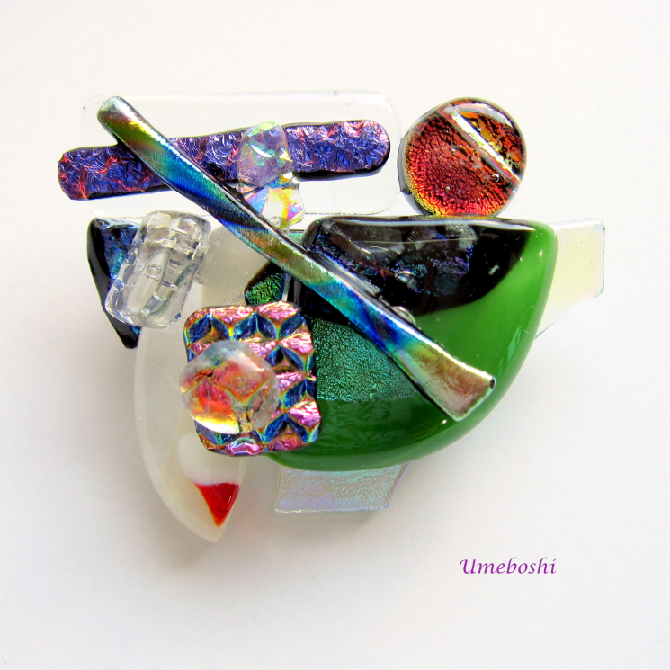 Artisan's Palette Handcrafted Dichroic Fused Glass Jewelry Brooch