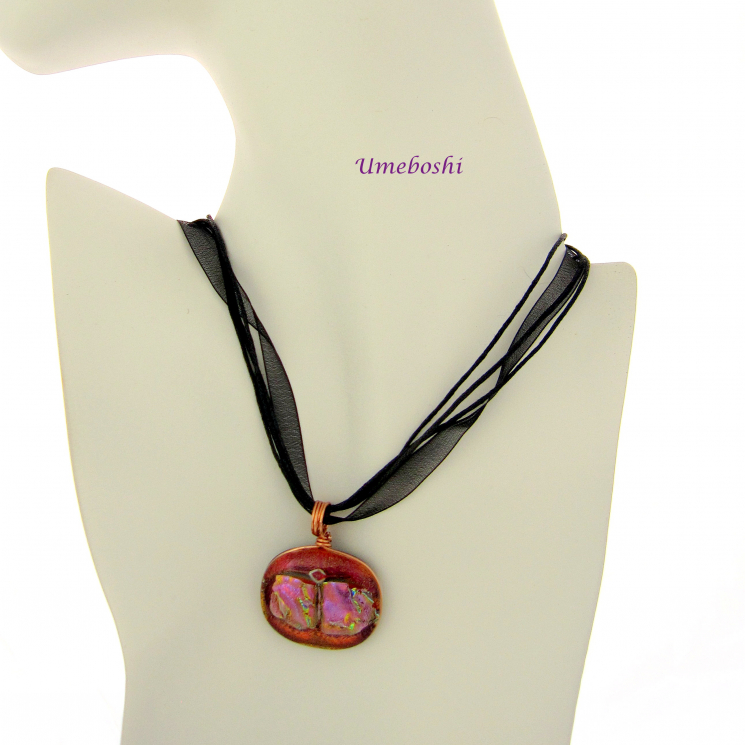 Dichroic Glass pendant Shown With Black Ribbon Necklace