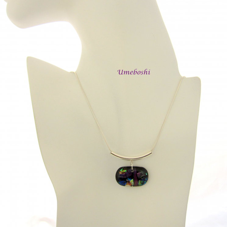 One-of-a-kind Dichroic Glass Jewelry Necklace