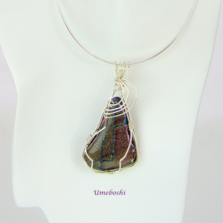 One-of-a-Kind Silver Wire Wrapped Dichroic Glass Pendant