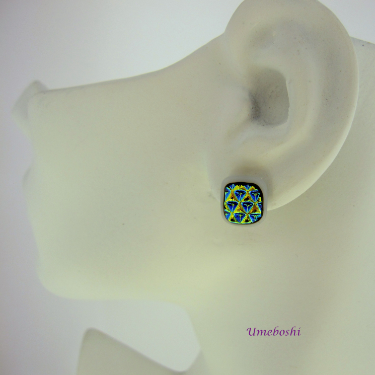 Dichroic Glass Post Jewelry Earrings by Umeboshi Jewelry Design