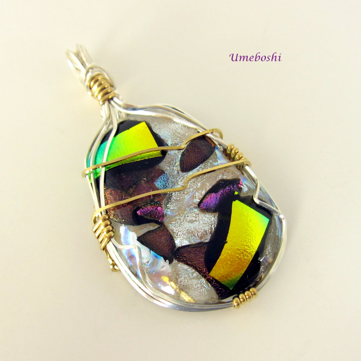 Argentium Sterling Silver Wire Wrapped Dichroic Pendant - Solomon's Treasure Dic