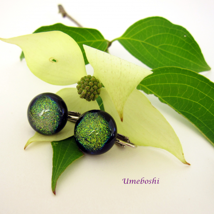 Handmade Dichroic Glass Clip Earrings