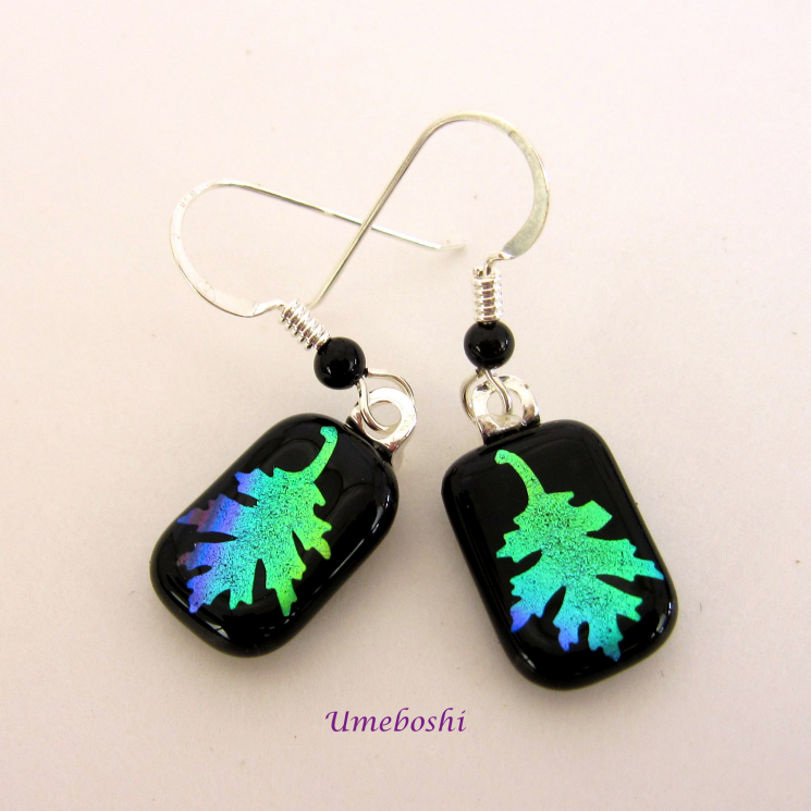 Handmade Dichroic Glass Oak Leaf Earrings Rainbow on Back with Onyx Ear Wires