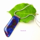 Smooth Fused Dichroic Glass Cabochon Pendant with Silver Plated Bail