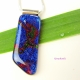Smooth Fused Dichroic Glass Cabochon Pendant in Deep Blue and Burgundy