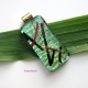 Handmade Dichroic Glass Pendant Green, Red and Black