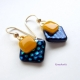 Yellow, Blue and Black Polka Dotted Dichroic Glass Earrings