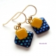 Blue dotted and sunshine yellow dangle earrings by Umeboshi
