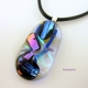 OOAK Dichroic Glass Handmade Pendant Shown with Black Leather Cord