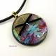 Dichroic Fused Glass Oak Leaf Handmade Pendant