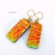 Orange and Teal Layered Dichroic Glass Earrings