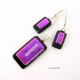 Blck and purple fused glass handcrafted pendant and earrings set