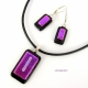 Orchid, pink feminine fused dichroic glass jewelry set