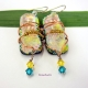 One-of-a-kind Dichroic Glass Dangle Earrings by Umeboshi