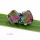 Twised squares pastel glass post earrings