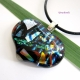 Heart of Space Handmade Dichroic Fused Glass Heart Jewelry Pendant Multi-Colored
