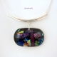 Multicolored Handmade Dichric Fused Glass Pendant with Curved Bail
