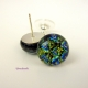 Dichroic Glass Jewelry Post Earrings with Sterling Silver Studs