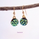 Textured Dichroic Fused Glass Dangle Earrings in Spring Colors