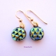 Handmade Textured Dichroic Glass Cabochon Dangle Earrings