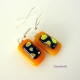 A Piece of My Heart Handmade Fused Glass Dangling Earrings - Sterling Silver Ear