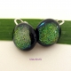 Green Dichroic Glass Clip-on Earrings