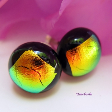 Handmade dichroic glass post earrings black and gold