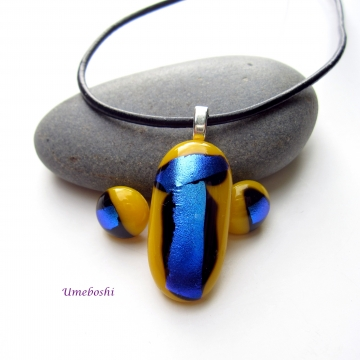 Bright Yellow Pendant and Earrings with Metallic Blue Accents