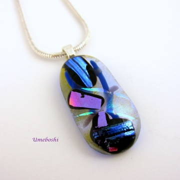 Handmade Original Dichroic Glass Pendant Shown with Sterling Silver Snake Chain