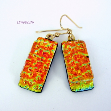 Fire in the Mountains Handmade Dangling Dichroic Glass Earrings