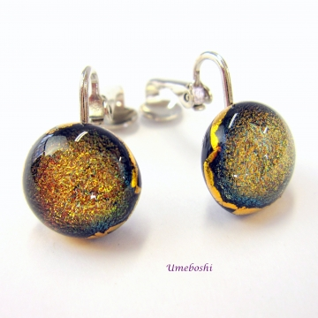 Umeboshi Jewelry Clip-on Earrings Dichroic Glass Cabochons