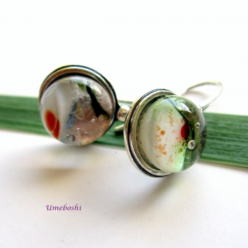 Red Rose Garden Fused Glass Cabochon Jewelry Earrings Sterling Silver
