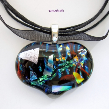 Fused Dichroic Glass Heart Pendant One-of-a-kind