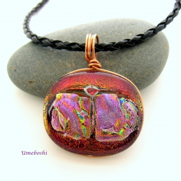 Copper Sunset Wire Wrapped Dichroic Fused Glass Cabochon Handmade Pendant